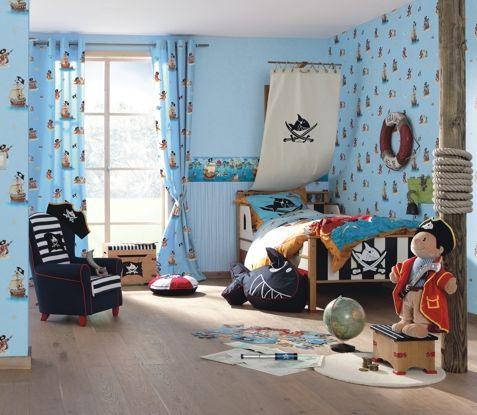 rasch fertigdeko fertigvorhang mit sen villa coppenrath nr 966229 capt n sharky farben. Black Bedroom Furniture Sets. Home Design Ideas
